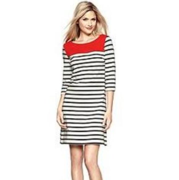 GAP Dresses & Skirts - Gap Striped Shift Dress Colorblock Red Dress Sz. L